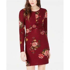 Planet Gold Floral Print Twist Bodycon Dress XL